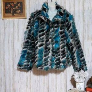 UbU Blue/black Faux Fur Coat oversized